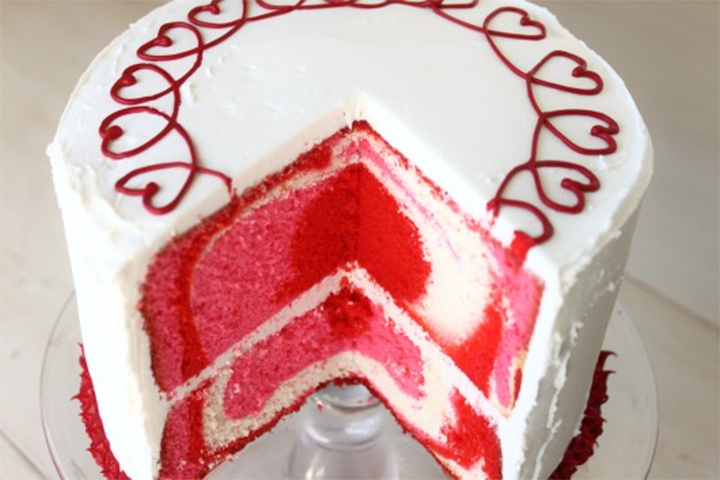 tie dye Valentine's Day cake