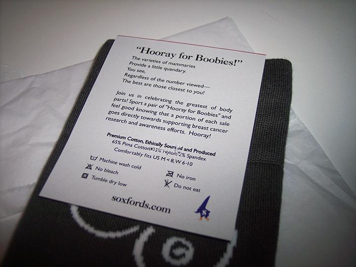 Soxfords Hooray for Boobies socks tag