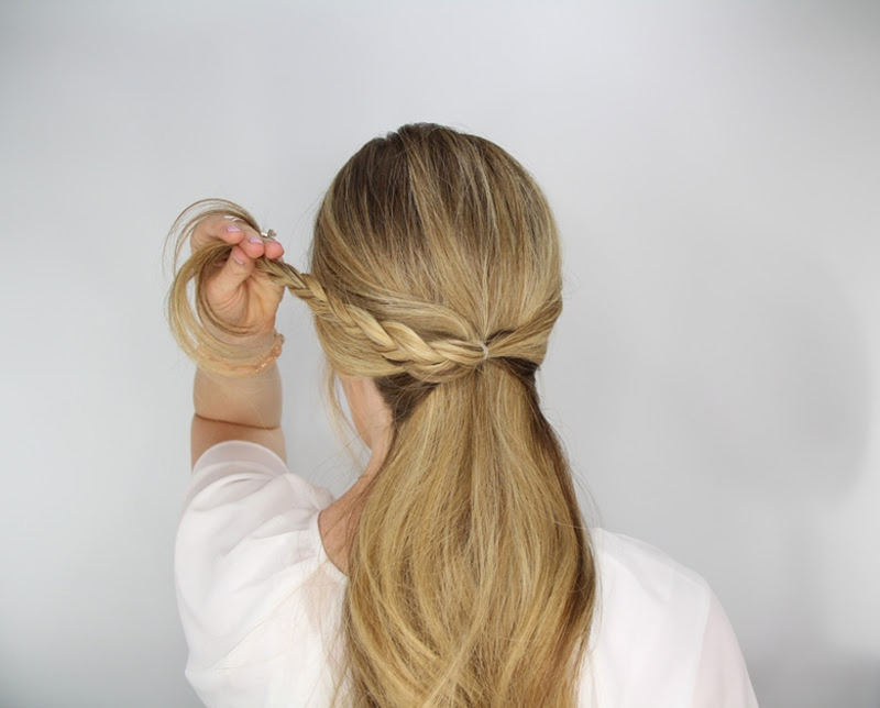 rosette embellished ponytail step 3