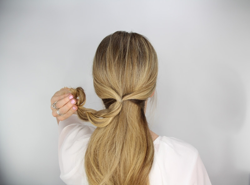 rosette embellished ponytail step 4