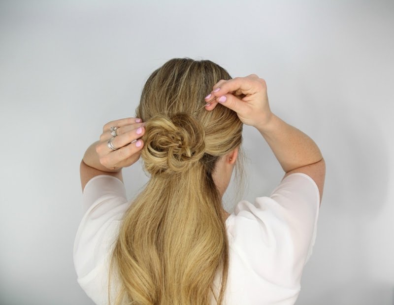 rosette embellished ponytail step 5