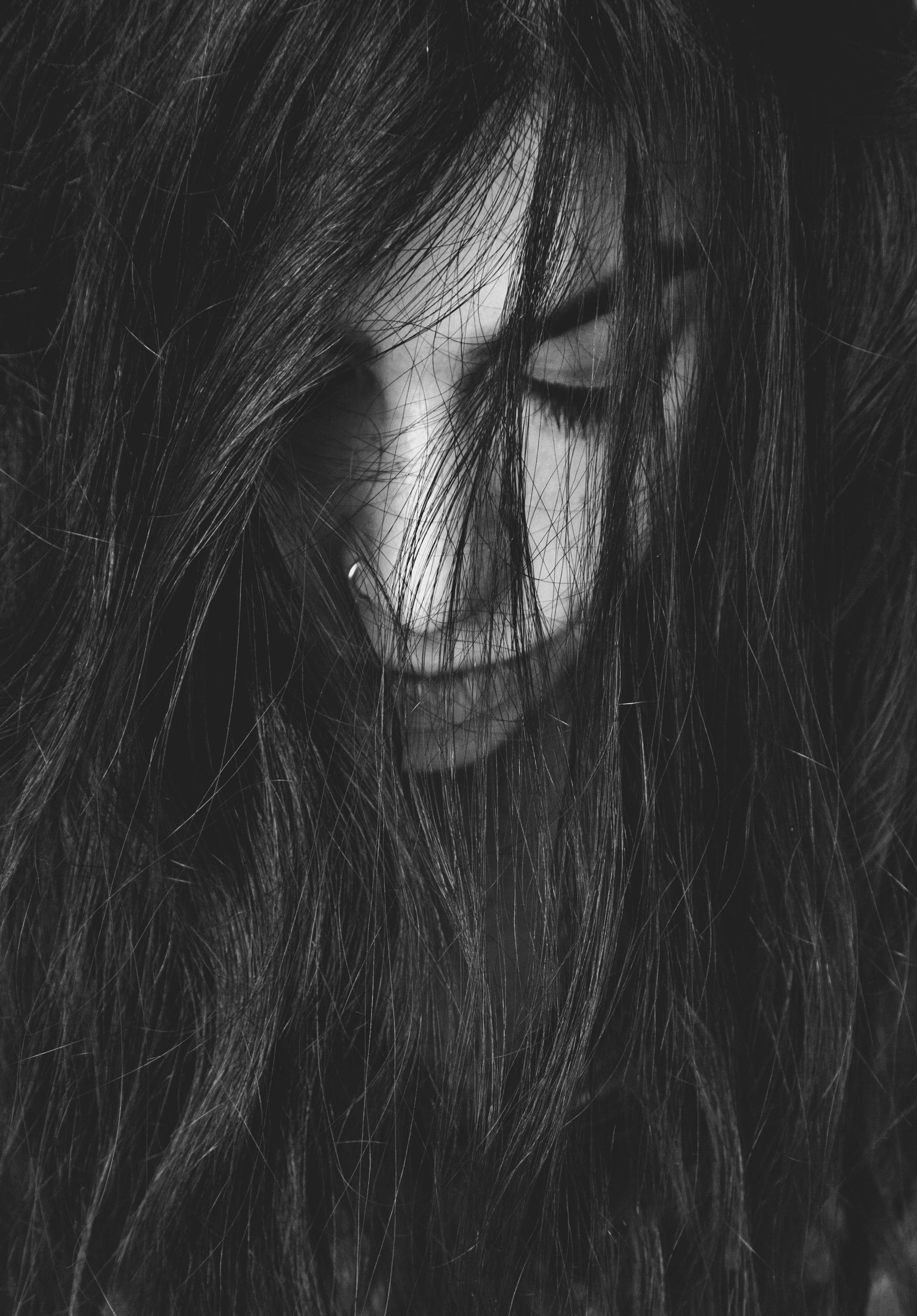 woman black and white portrait